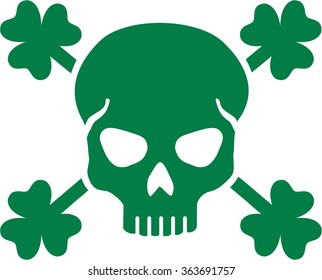 Green St. Patrick's Day skull with clovers