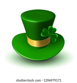 Green St. Patrick's hat with gold ribbon and three-leaf green leaf of clover. Three-dimensional vector illustration of traditional Irish folk headdress.