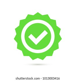 Green stamp with tick icon in flat line style. Vector illustration.