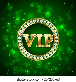 Green starry background with diamonds and golden letters Vip, illustration.