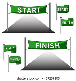 The green start and finish gate, flags. Vector illustration.