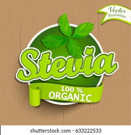 Green Stevia logo lettering typography food label or sticker. Concept for farmers market, organic food, natural product design.Vector illustration.