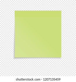 Green sticky note isolated on a transparent background