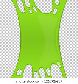 Green sticky slime banner with copy space. Frame of scary zombie slime. Popular kids sensory toy vector illustration. Realistic radioactive slime isolated object. Halloween party spooky design element