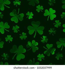 green stripe shamrocks. vector seamless pattern. patrick background. St. Patrick's Day. clover leaves; vector illustration