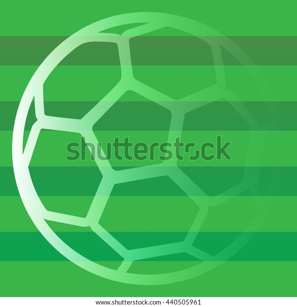 Green striped pattern with a ball. Football field. Soccer Championship.