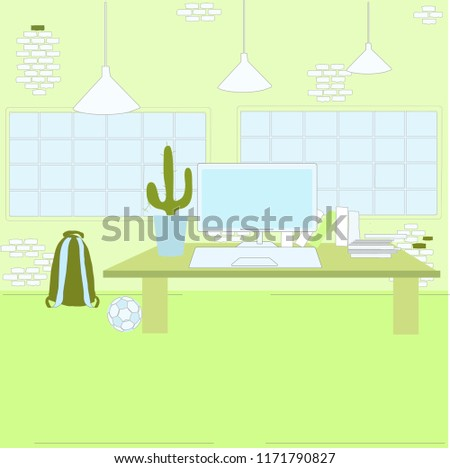 Green Style Loft Creative Interior. Atelier, Home, Office, Work Space With  Table