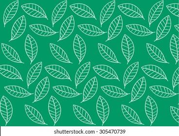 green stylized leaf pattern. Vector illustration, leaf background pattern