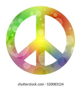green stylized peace symbol isolated on white background