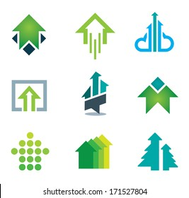 Green success logo business icons set in motivation and economy finance and banking