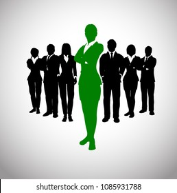 Green Successful leader of a team. A team of executives led by a great and successful female leader.
