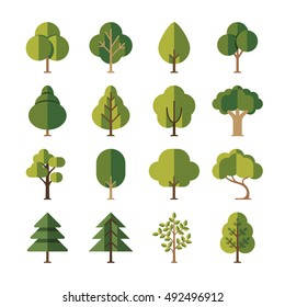 Green summer forest tree flat vector icons. Pine and oak, evergreen plant illustration