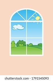 Green summer landscape behind vertical window - vector object