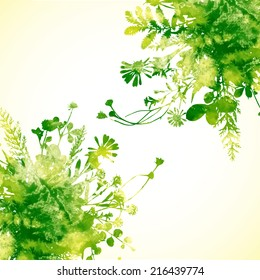Green summer leaves - vector watercolor background