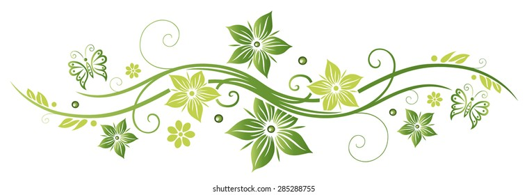 Green summer and spring time flowers