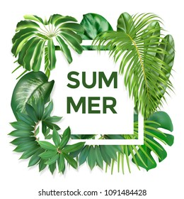 Green summer tropical background with exotic palm leaves and plants. Vector photorealistic exotic palm leaves. Summer banner for cosmetics, textile, print, party invitation, sale design.