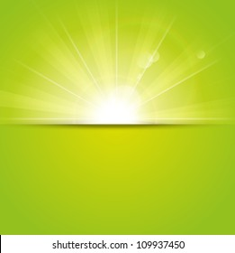 Green sunny background with place for text