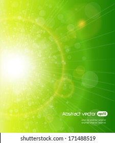 Green sunny background, spring or summer vector background.
