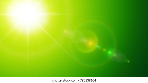 Green sunny background, sun with lens flare, vector illustration