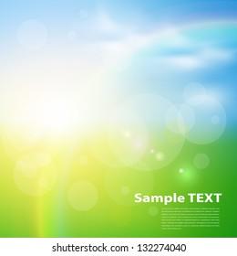 Green, sunny natural  background, vector illustration.