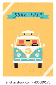 Green surf van decorated flowers suitable for booklet, card, cover. Vector illustration. Summer trip retro poster.