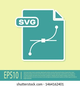 Green SVG file document. Download svg button icon isolated on yellow background. SVG file symbol.  Vector Illustration