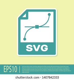 Green SVG file document icon. Download svg button icon isolated on yellow background. SVG file symbol. Vector Illustration
