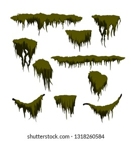 Green swamp moss on white background. Forest grass in cartoon style. Isolated design element. Game sprite. Marsh plants. Vector illustration