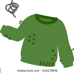 Green sweater with lint balls