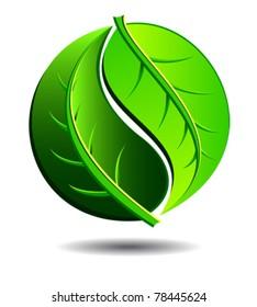 Green symbol concept using Yin Yang in a leaf design