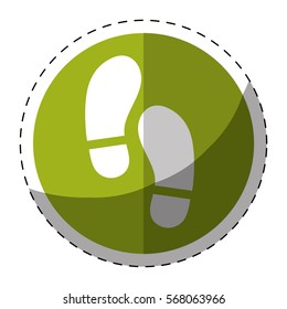 Green symbol footprints button icon design, vector illustration