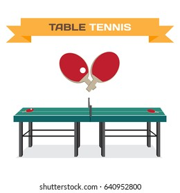 Green table for tennis and rackets. Equipment for ping-pong
