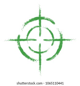 Green target on isolated white background. Vector element, illustration, icon for your design.