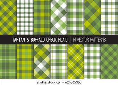 Green Tartan and Buffalo Check Plaid Vector Patterns in Greenery - 2017 Color of the Year, Kale and Lime Green. Hipster Lumberjack Flannel Shirt Fabric Textures. Pattern Tile Swatches Included.