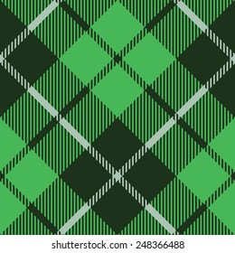 green tartan fabric texture diagonal pattern seamless vector illustration