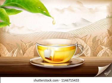 Green tea bag ads with 3d illustration glass cup of tea on engraved plantation background