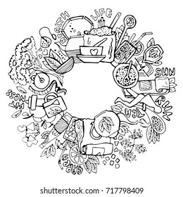 Green tea circle doodles. Sketched green tea healthy elements, natural products and objects related to green tea, vector hand draw illustration.