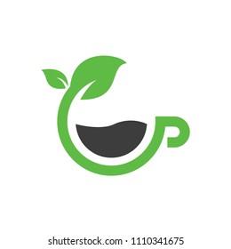 Green tea green coffee natural herb organic health logo or icon design template