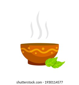 Green tea Cup. Brown earthenware. Flat cartoon illustration with leaves. Piala bowl. National ethnic Oriental drink