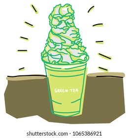 Green Tea Frappucino with Whipped cream.vector illustration.Food and drinks concept.