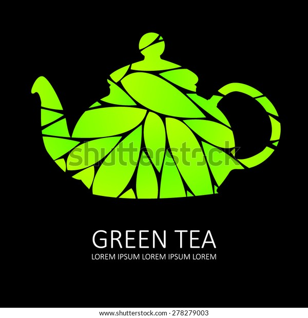 green tea icon black background stock vector royalty free 278279003 shutterstock
