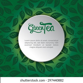 Green Tea label on seamless pattern