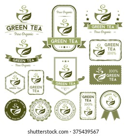 Green tea labels, badges, stamps and banners collection.