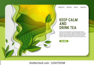 Green tea landing page website template. Vector paper cut spilling aromatic green tea with leaves. Keep calm and drink tea inspirational quotation.