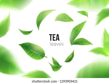Green tea. Tea leaves whirl in the air.  Element for design, advertising, packaging of tea products white background 3d illustration