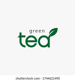 Green tea logo. Vector illustration.