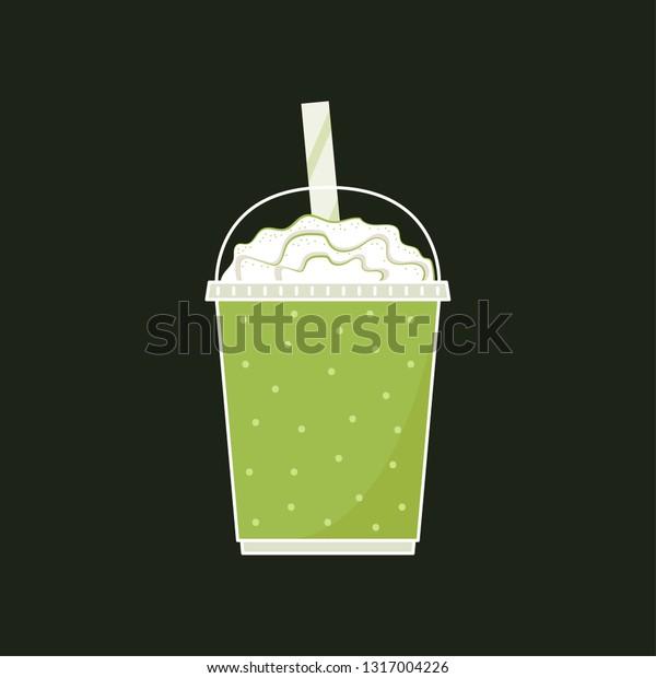 Vector De Stock Libre De Regalías Sobre Green Tea Milk Cup