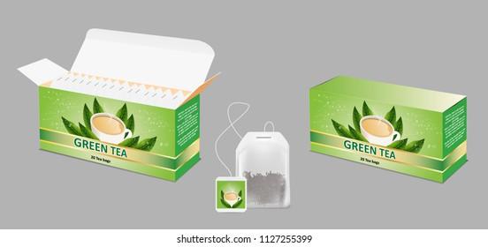 Green tea paper box and tea bag packaging mockup set. Vector realistic illustration.