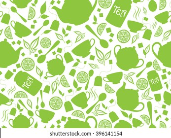 Green tea pattern. Vector illustration with tea leaves, teapot, cup, lemon. Endless texture can be used for package design, menu, printing onto fabric and paper or scrap booking.