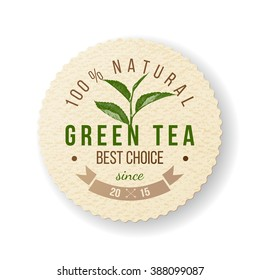 Green Tea round paper label